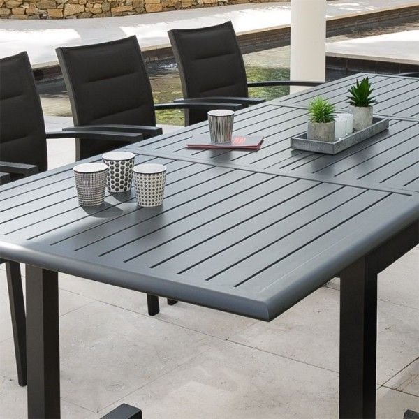 Table de jardin extensible Aluminium Azua (240 x 100 cm) - Graphite ...