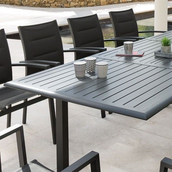 Table de jardin extensible Aluminium Azua (300 x 100 cm) - Graphite ...