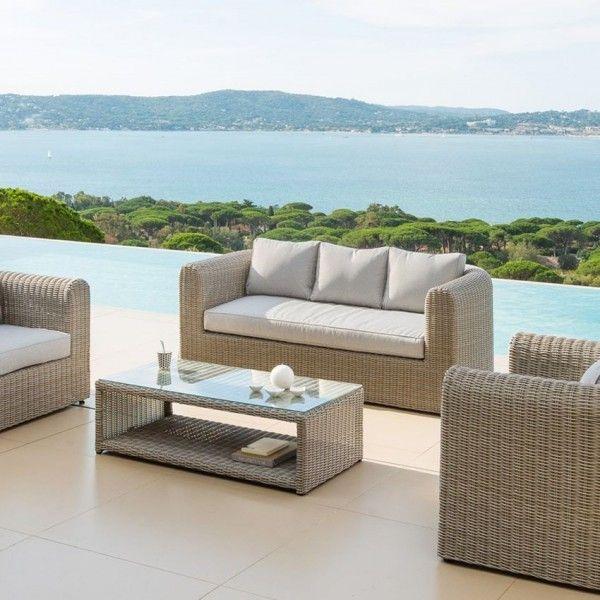 canap de jardin 3 places libertad sable gris clair salon de jardin table et chaise eminza. Black Bedroom Furniture Sets. Home Design Ideas