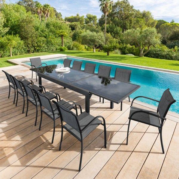 salon de jardin piazza anthracite graphite verre 8 12. Black Bedroom Furniture Sets. Home Design Ideas