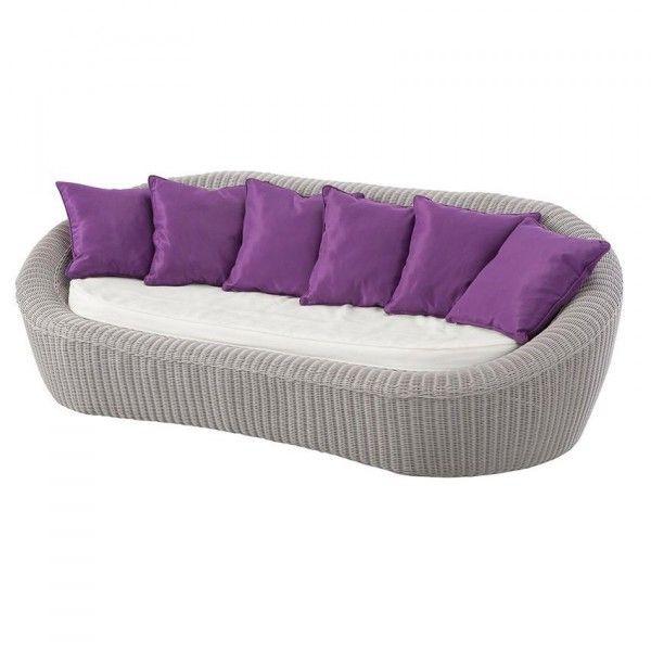 Canapé de jardin 3 places Java - Gris clair/Violet - Salon de jardin ...