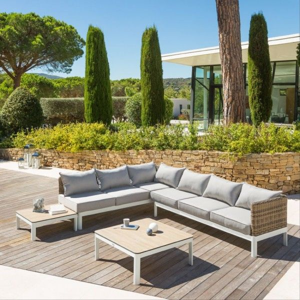 salon de jardin barcelone naturel gris clair 6 places salon de jardin table et chaise eminza