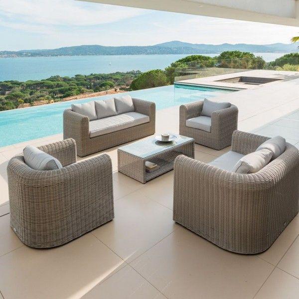 salon de jardin libertad sable gris clair 7 places salon de jardin eminza. Black Bedroom Furniture Sets. Home Design Ideas
