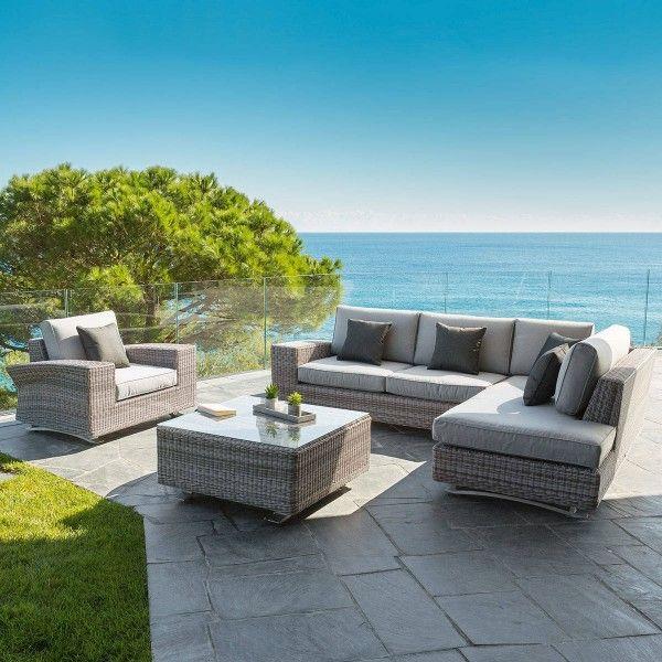 salon de jardin ambrosio taupe perle 5 places salon de. Black Bedroom Furniture Sets. Home Design Ideas