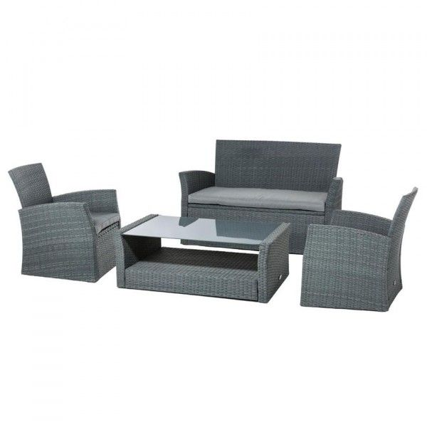 lot de 3 coussins pour salon de jardin bora bora gris. Black Bedroom Furniture Sets. Home Design Ideas