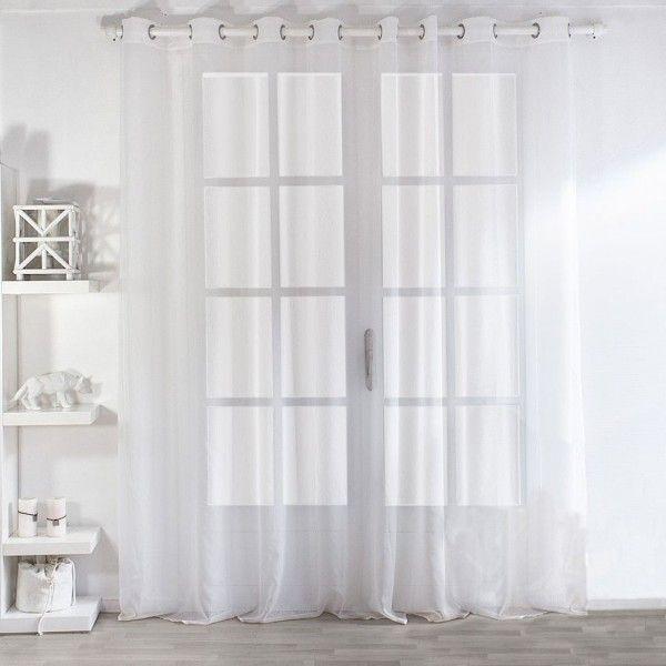 voilage 300 x h 240 cm dolly blanc rideau voilage. Black Bedroom Furniture Sets. Home Design Ideas