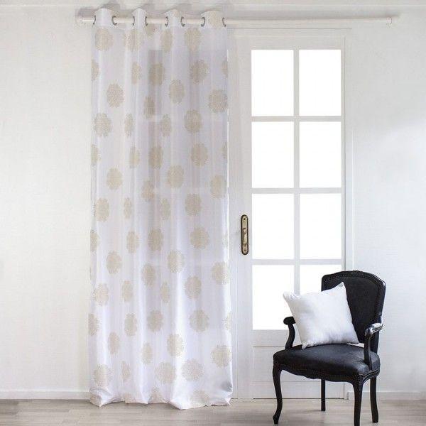 rideau tamisant (140 x 240 cm) dolly flore blanc or - rideau