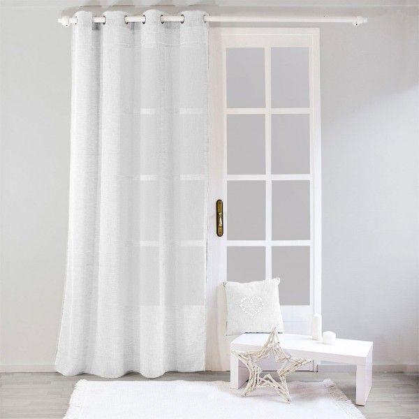 voilage 140 x 240 cm effet lin blanc voilage eminza. Black Bedroom Furniture Sets. Home Design Ideas