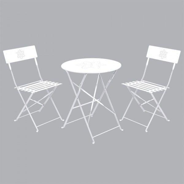 Salon de jardin pliant Bistro Blanc - 2 personnes