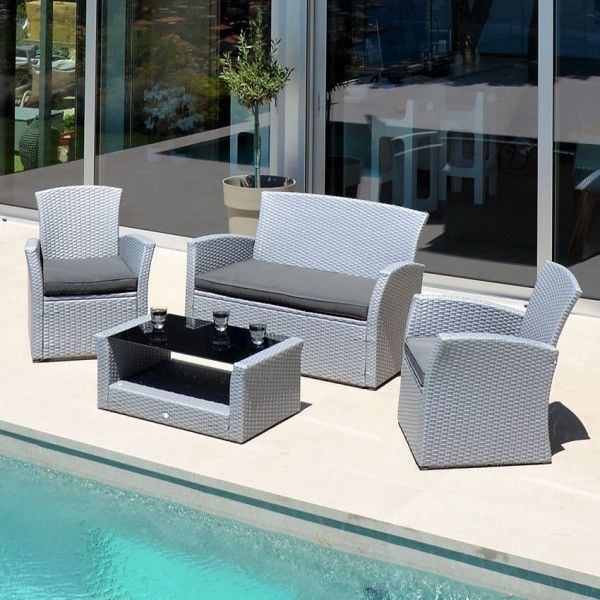 Salon de jardin Ibiza Gris clair - 4 places - Salon de jardin, table ...