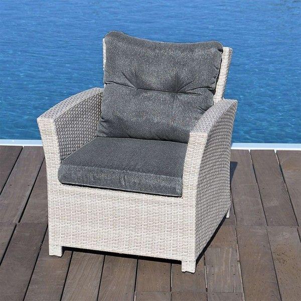 Fauteuil de jardin Panama - Gris - Salon de jardin, table et chaise ... 199319a654d7