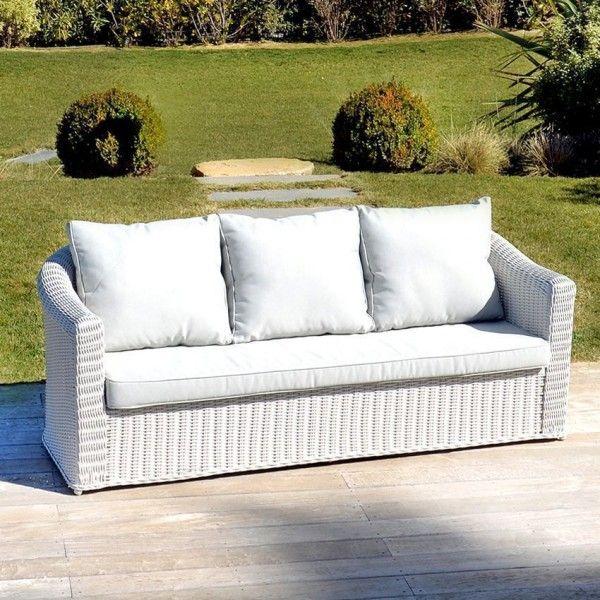canap de jardin 3 places calvi blanc perle salon de jardin table et chaise eminza. Black Bedroom Furniture Sets. Home Design Ideas