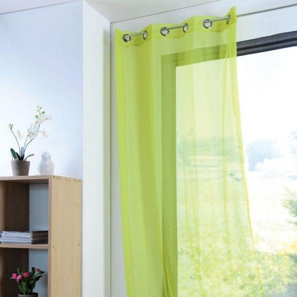voilage 135 x h 260 cm monna vert anis voilage eminza. Black Bedroom Furniture Sets. Home Design Ideas