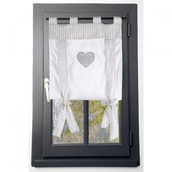 Voilage vitrage (45 x 100 cm) Chinon Gris - Rideau / Voilage / Store ...