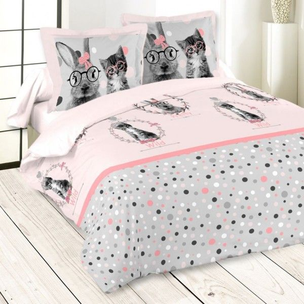 housse de couette rose linge de lit eminza. Black Bedroom Furniture Sets. Home Design Ideas