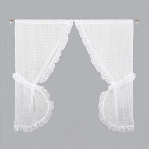 Paire De Voilages Bonne Femme 65 X 160 Cm Hortensia Blanc