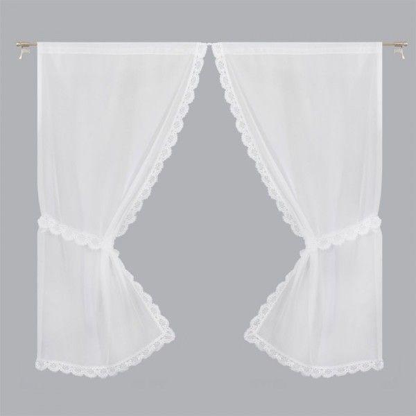 Paire de voilages bonne femme 125 x 220 cm macram blanc rideau voilage store eminza - Rideaux bonne femme macrame ...