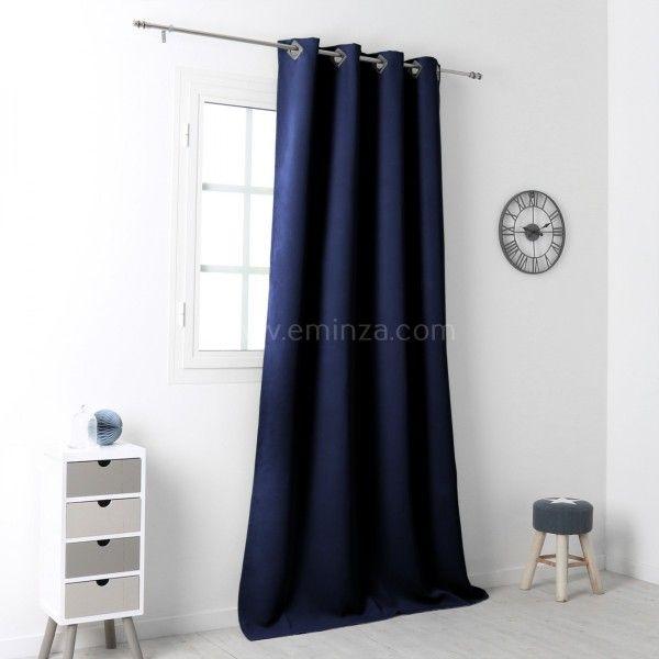 rideau occultant 140 x 250 cm drake bleu marine rideau voilage store eminza. Black Bedroom Furniture Sets. Home Design Ideas