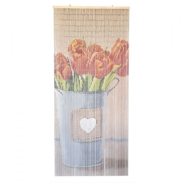 Rideau de porte (90 x 200 cm) Stick Bambou Tulipes Orange