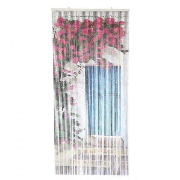 Rideau de porte 90 x 200 cm stick bambou porte bleu - Rideau de porte exterieur plastique ...