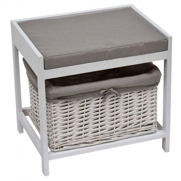 Meuble pouf et rangement blanc meuble de salle de bain - Tabouret plastique pour salle de bain ...