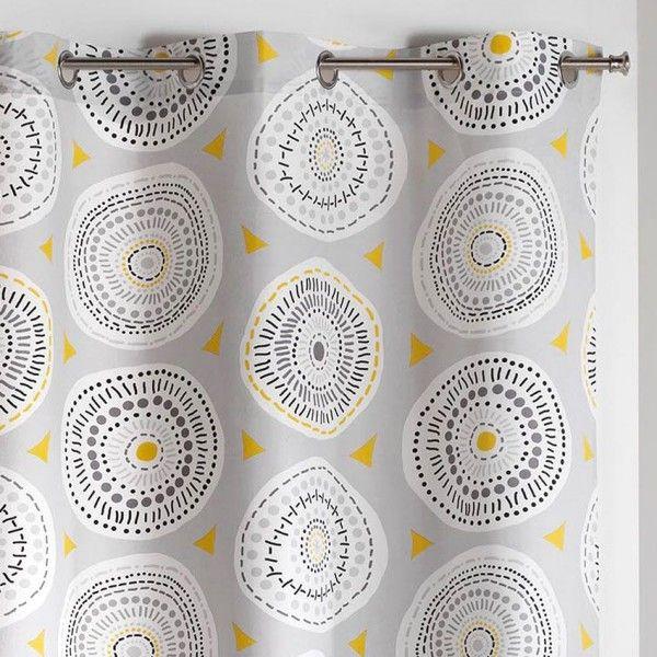 rideau tamisant 140 x 240 cm disco gris et jaune rideau tamisant eminza. Black Bedroom Furniture Sets. Home Design Ideas