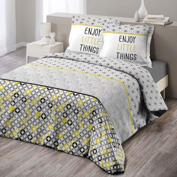 housse de couette et deux taies 260 cm remix gris et jaune housse de couette eminza. Black Bedroom Furniture Sets. Home Design Ideas
