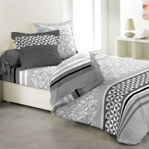 parure de draps gris linge de lit eminza. Black Bedroom Furniture Sets. Home Design Ideas