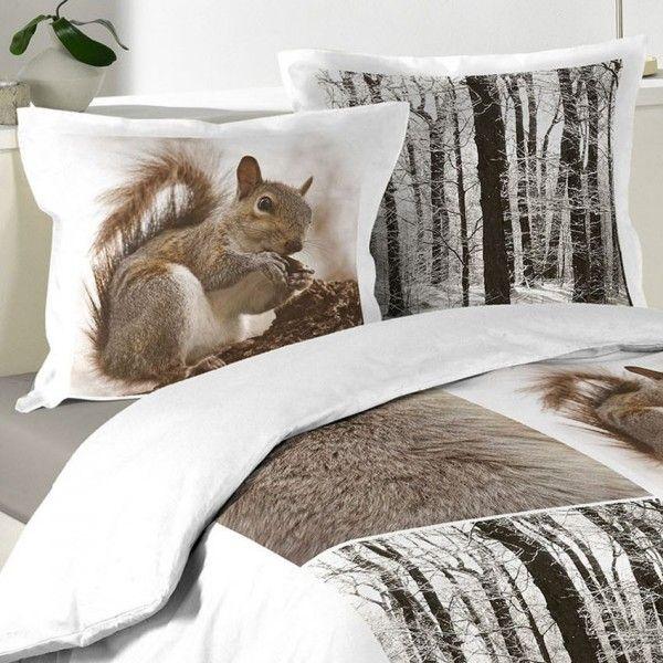Housse de couette et deux taies 240 cm ecureuil linge - Helline housse de couette ...