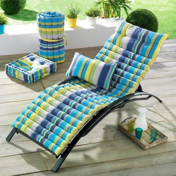 coussin bain de soleil marina bleu textile d 39 ext rieur eminza