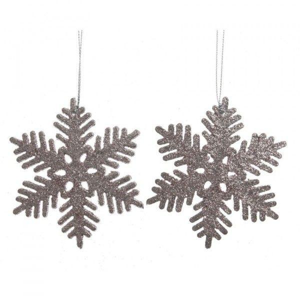 Foto Fiocchi Di Natale.Confezione Di 2 Fiocchi Di Neve Di Natale Flake Rosa Cipria