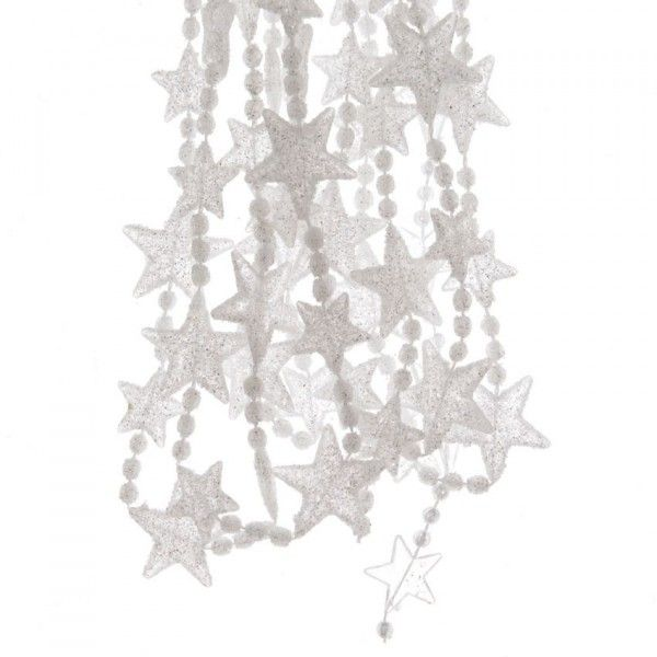 Guirnalda de Navidad estrella/perla Alpine Plata - Bola y decoración ...