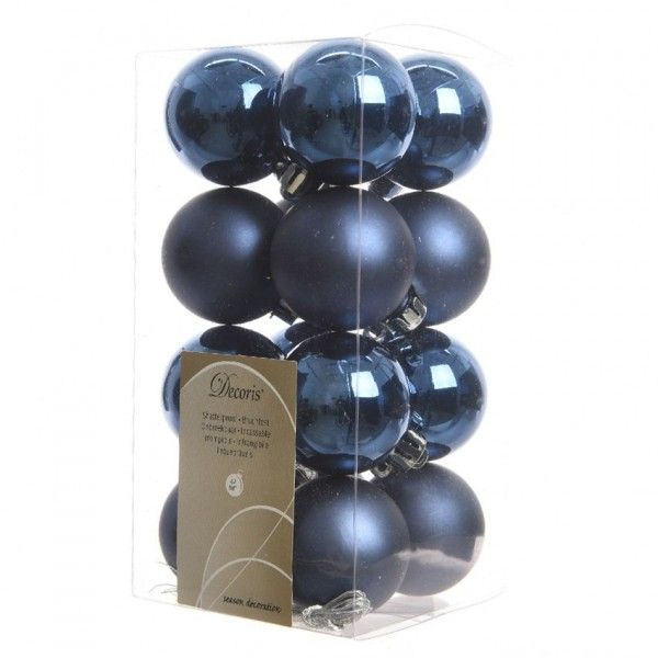 Set Van 16 Kerstballen Alpine Donkerblauw Kerstballen En