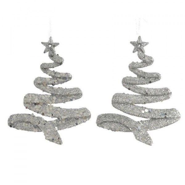 Confezione di 2 alberi di Natale a Spirale Argento - Addobbi albero ... ad8d5c56a786