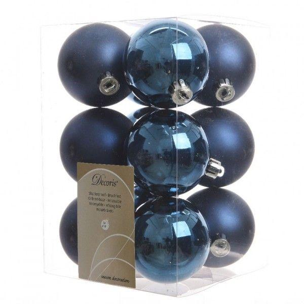 Set Van 12 Kerstballen Alpine Donkerblauw Kerstballen En