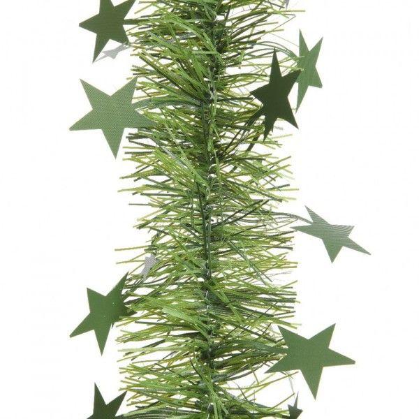 Guirnalda De Navidad Ancha Estrellada Alpine Verde Bola Y - Guirnalda-navidad