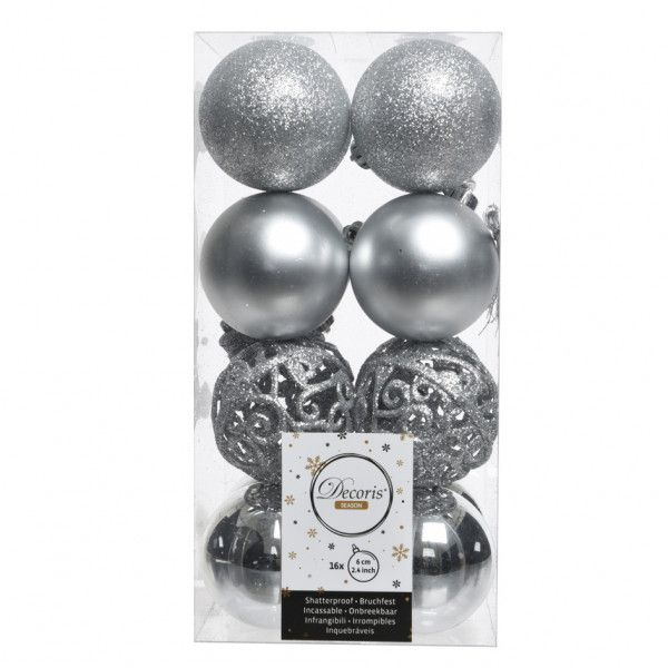 Lot de 16 boules de Noël (D60 mm) Alpine multi Argent