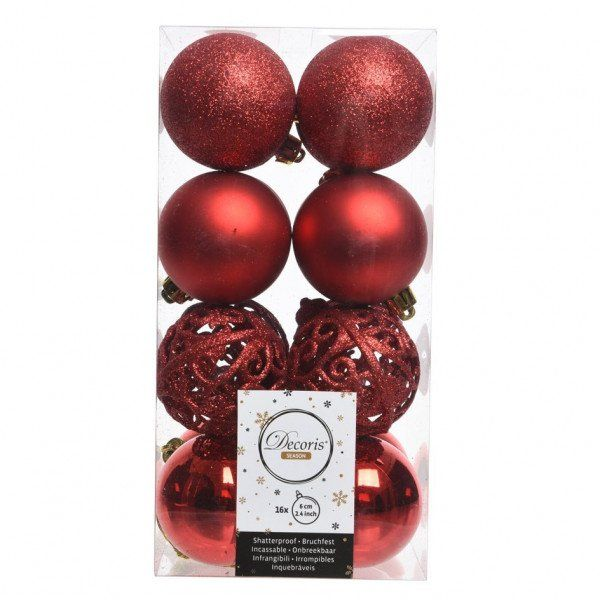 Lot de 16 boules de Noël (D60 mm) Alpine multi Rouge