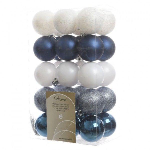 Set Van 30 Kerstballen Alpine Multi Blanc Donkerblauw