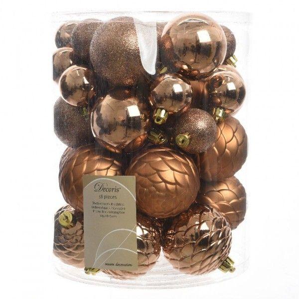 Weihnachtskugeln Kupfer.38er Set Weihnachtskugeln Alpin Kupferbraun