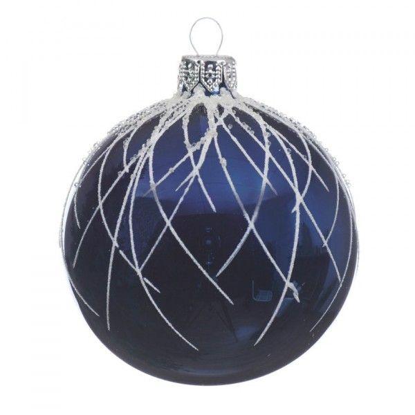 lot de 6 boules de no l d80 mm lega bleu nuit boule. Black Bedroom Furniture Sets. Home Design Ideas