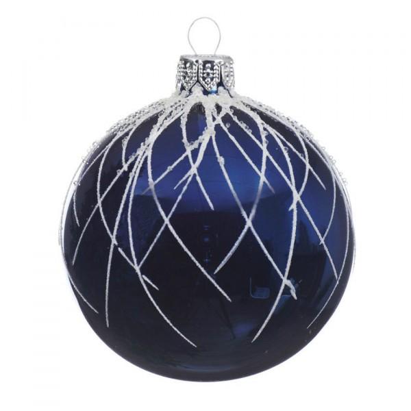 Set Van 6 Kerstballen D80 Mm Elega Donkerblauw Kerstballen En