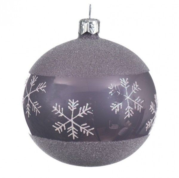 Lot de 6 boules de Noël (D80 mm) Flocon Lilas