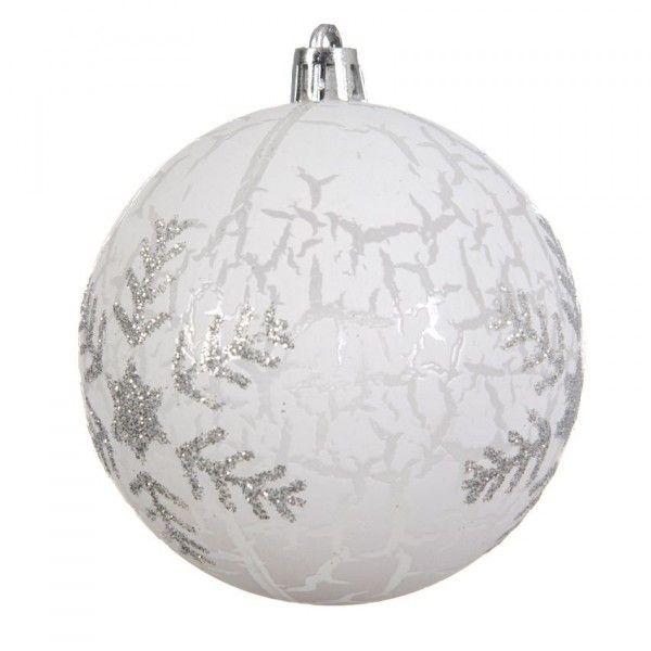 Lot de 12 boules de Noël transparentes (D80 mm) Flocon givré