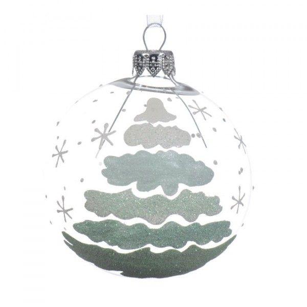 Lote De 6 Bolas De Navidad D80 Mm Sitka Transparente Bola Y - Bolas-de-navidad-transparentes