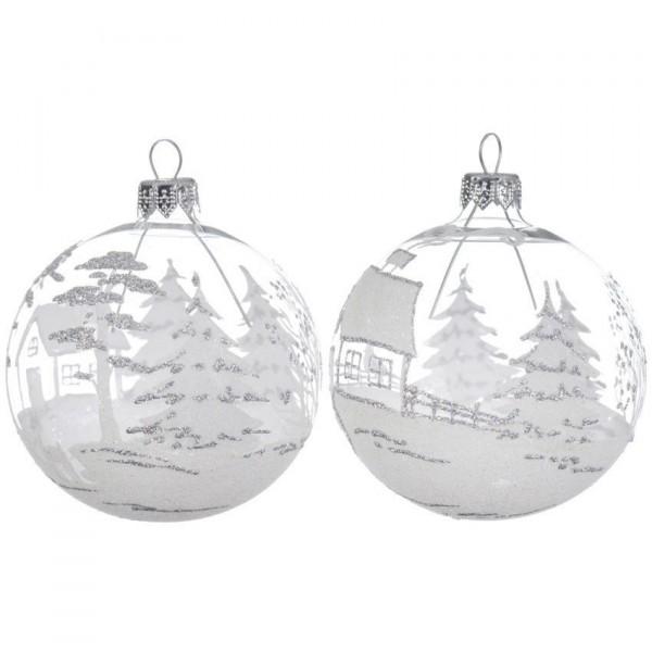 Lote De 6 Bolas De Navidad D80 Mm Landscape Transparente Bola Y - Bolas-de-navidad-transparentes