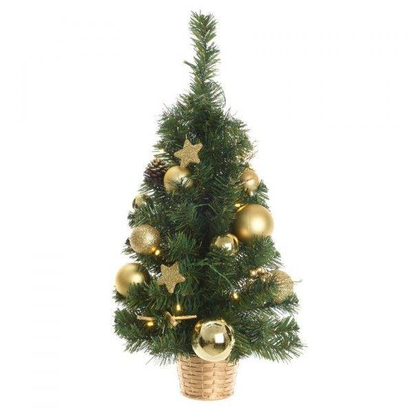 Künstlicher Weihnachtsbaum Mit Deko Und Beleuchtung.Künstlicher Weihnachtsbaum Mit Beleuchtung Versini H60 Cm Gold
