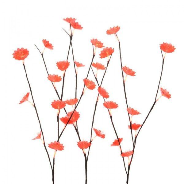 set van 3 verlichte takken anthmis rood