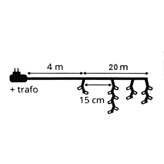 490 DEL Guirlande Électrique 8 fonctions Timer Eisregen Rideau 20 m Blanc Extérieur ip44