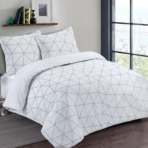 Housse de couette 260 x 240 cm linge de lit eminza for Housse de couette noir blanc